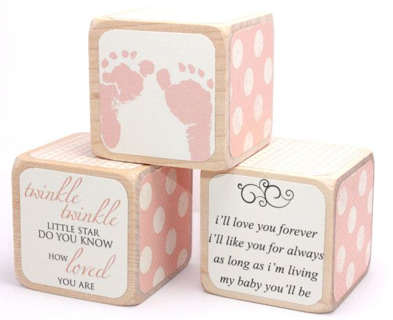 Shabby Chic Baby Shower Decor  Wood Blocks  Baby by Booksonblocks