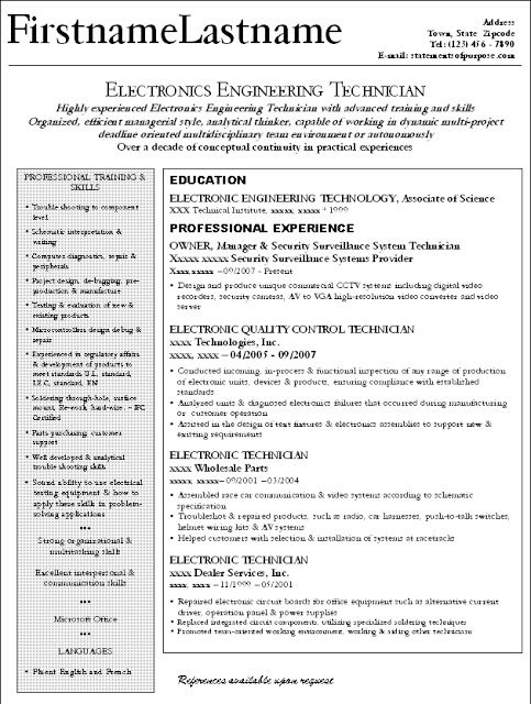 good electronic engineer  technician and small business owner resume ideas