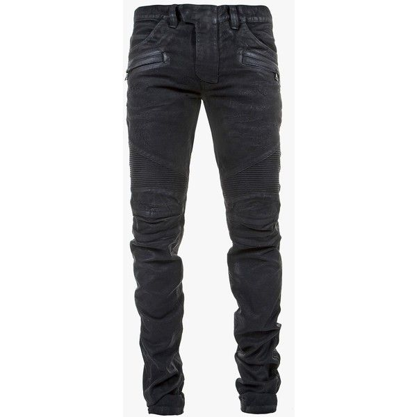 Balmain - Regular-fit waxed-cotton biker jeans - Men's biker jeans ($1,255) ❤ liked on Polyvore featuring men's fashion, men's clothing, men's jeans, denim, mens biker jeans, mens jeans, men's regular fit jeans and balmain men's jeans