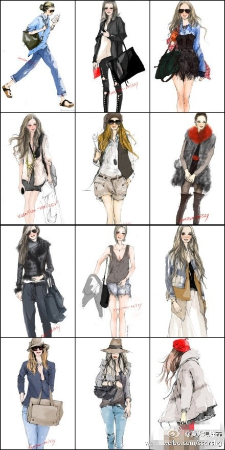 Beautiful fashion hand drawing - has been to Europe and the United States Fan children love this High Street!