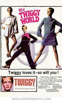 Advert for Twiggy's shop at 22-23 Little Portland Street near London's Oxford Circus in the late 1960s