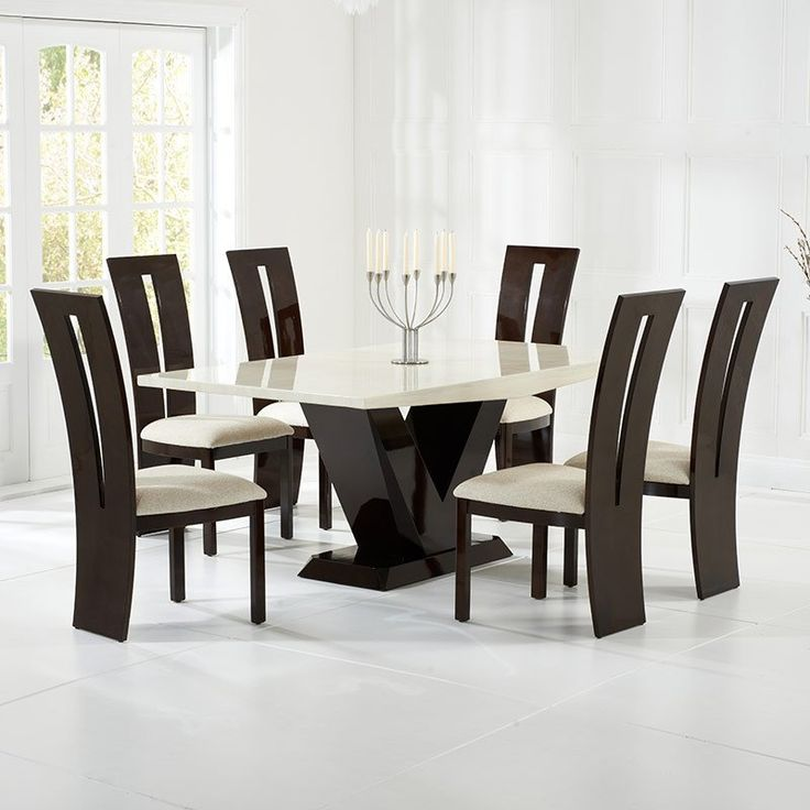 Valencie Cream+Brown Constituted Marble Dining Table Set (6 Valencie Chairs)