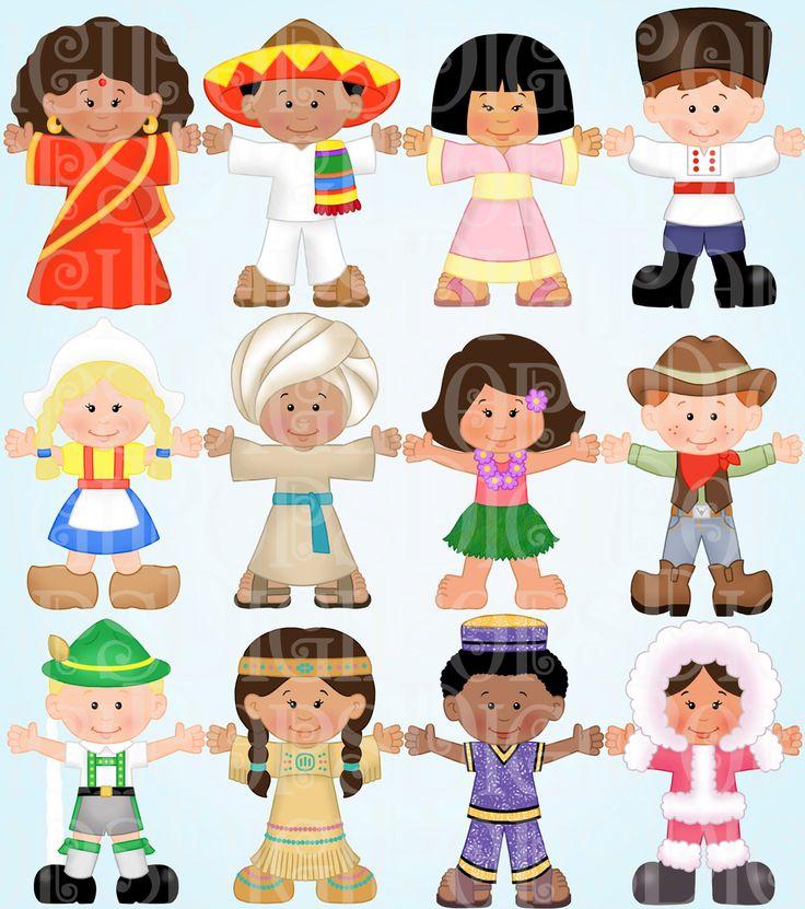 Children Around the World Digital Clip Art Set Personal and