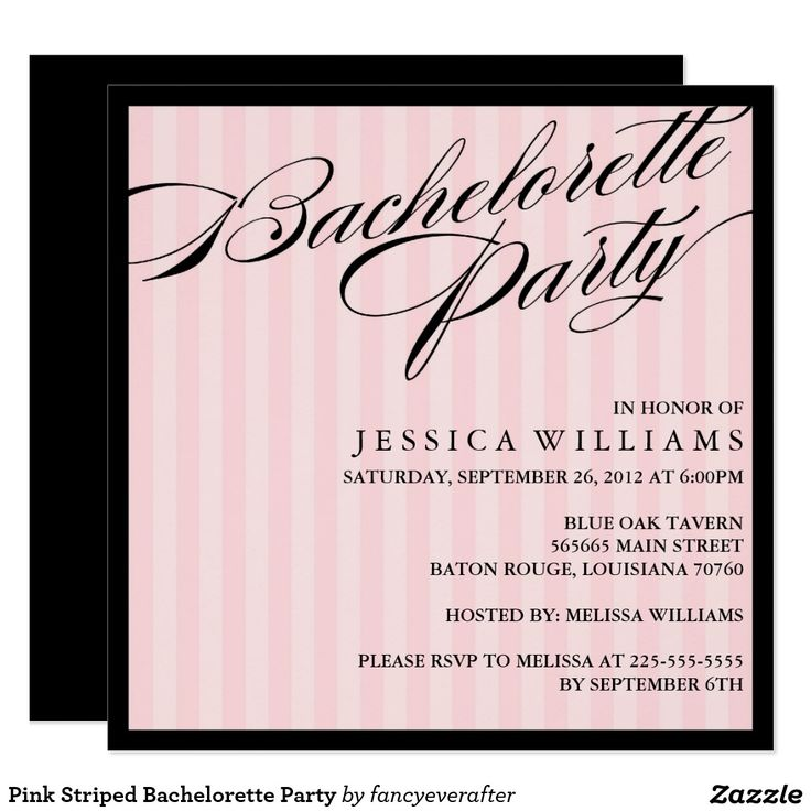 Best 25 invitations images on pinterest birthdays invitations pink striped bachelorette party invitation stopboris Images