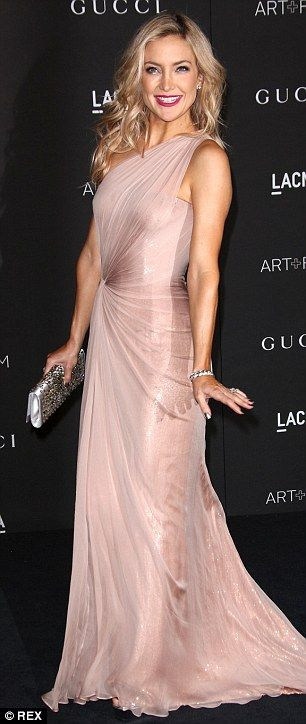 Kate Hudson was gorgeous in a soft pink single strap gown at the LACMA Art + Film Gala http://dailym.ai/1DMjl91
