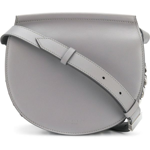 Givenchy Infinity mini saddle bag ($1,674) ❤ liked on Polyvore featuring bags, handbags, shoulder bags, grey, genuine leather shoulder bag, shoulder strap bags, givenchy handbags, grey leather purse and grey leather handbags
