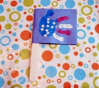 We used this idea for celebrating with a craft this year's fourth. My 6 year old painted her own, I did the 2 year old's hand, and the baby's foot. This would also make a great greeting card!