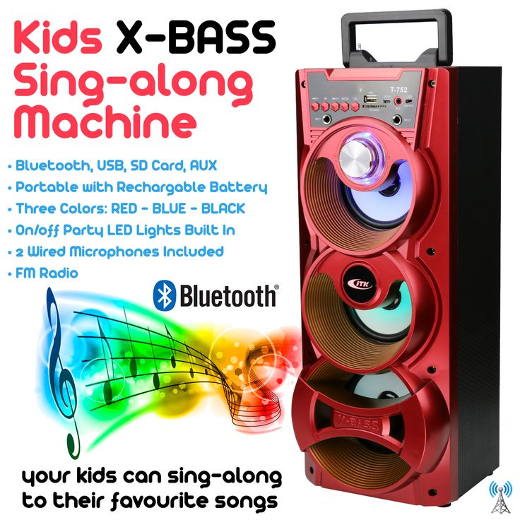 X-Bass Kids Sing-Along Machine, Red Edition, Bluetooth, SD Card, USB, FM Radio, Rechargeable Battery.