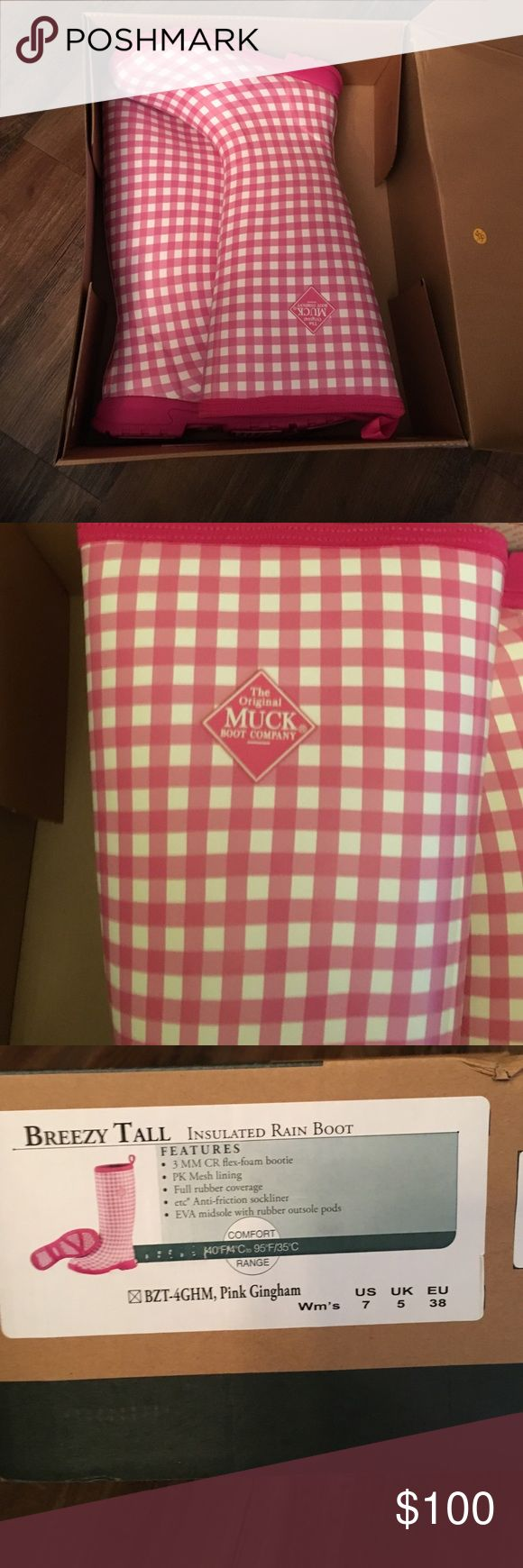 Muck women's rain boot breezy tall New in box Pink gingham. New in box. Retail $155 muck Shoes Winter & Rain Boots