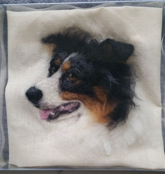 Needle Felted Picture, Border Collie, Tri-colour, Chicktin Creations