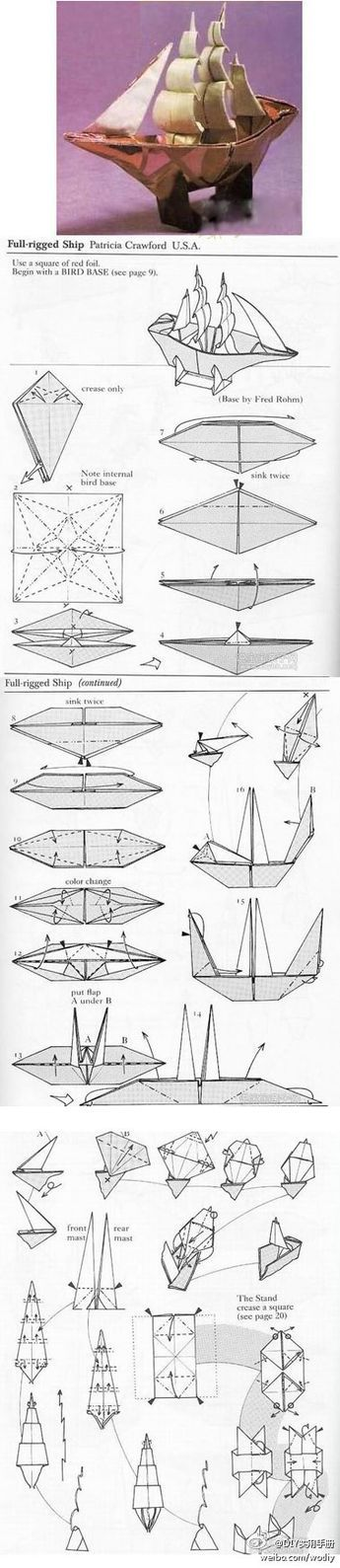 Dreidimensionale Origami Segelboot Tutorial ; I've tried folding this model before, only foil backed wrapping paper works since it holds the shape of the sails #Origami #Boat