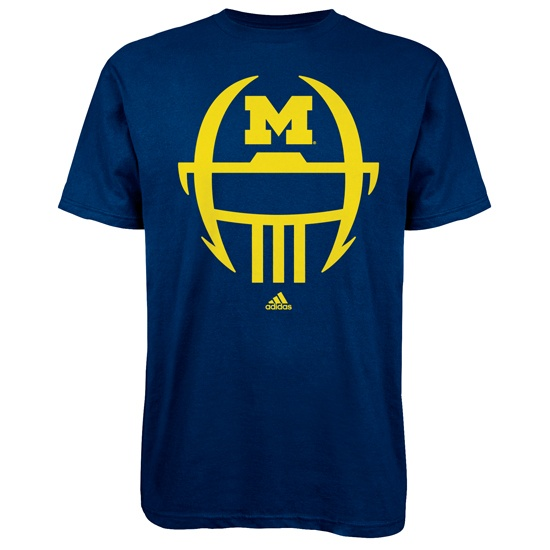 Adidas University of Michigan Football Navy Facemask Go-To Tee! $18