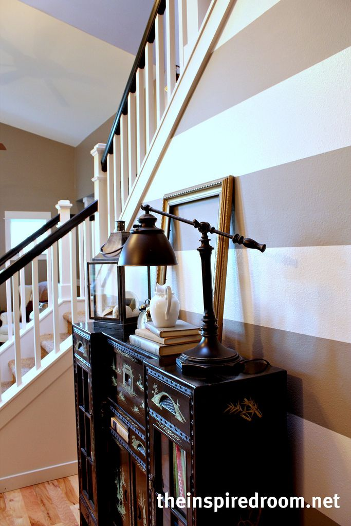 My entry & stairs....stair handrail was originally light oak, I need to do a before and after makeover of them soon!