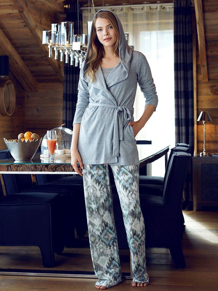 Penye Mood 7837 Bayan 3'lü Pijama Takım   Mark-ha.com