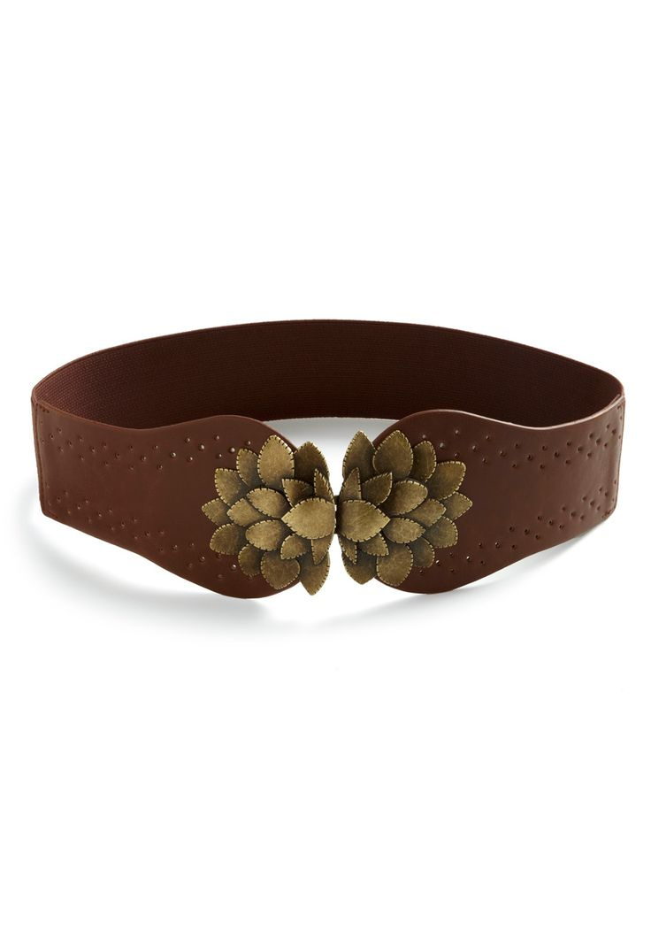 Flora All Time Belt - Brown, Gold, Cutout, Flower, Solid, Casual, Faux Leather