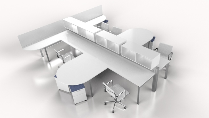 4 Person Cluster Workstation From Fluidconcepts Www Fluidgroup Cool Office Furniture