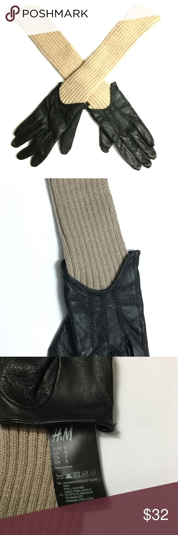 H&M Trend Long Sleeve Knit & Leather Combo Gloves These gloves keep you ultra chic and warm in cold weather! They are uniquely made with soft leather & knit. These neutral colors go with everything.  From H & M Trend collection, high quality!  Size S. Length of sleeve: approx. 10.5 inches. Used only once, in great condition!  ** No trade ** H&M Accessories Gloves & Mittens