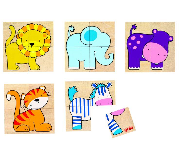 Puslespil - Karemo game - lille puslespil med søde dyr - fra Goki