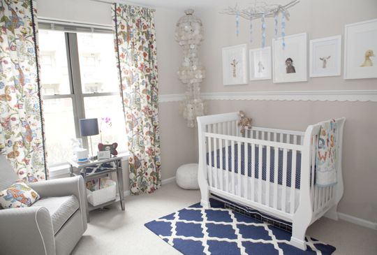 Gorgeous nursery featuring prints from @The Animal Print Shop by Sharon Montrose - and we can't get enough of this scalloped molding! #nurseryWall Colors, Boys Nurseries, Chairs Railings, Animal Nurseries, Projects Nurseries, Baby Room, Animal Prints, Baby Animals, Baby Nurseries