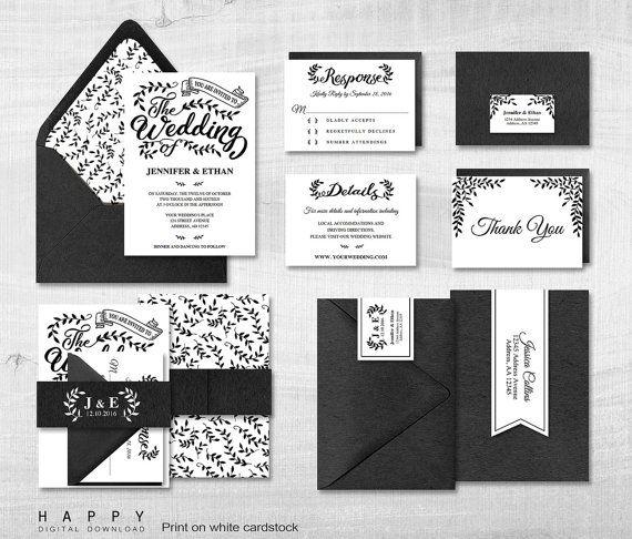 Paquete de invitación boda imprimible, archivos Editable PDF de plantillas de invitación de boda - blanco y negro hojas