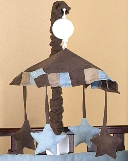 Soho Blue and Brown Contemporary Baby Musical Crib Mobile by Sweet Jojo Designs