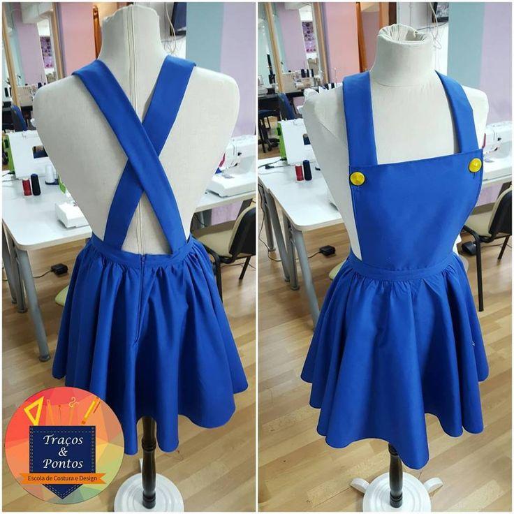 vestido inspirado macacão super mario  Escola de Costura Traços e Pontos