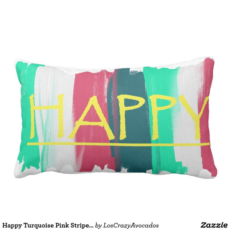 Happy Turquoise Pink Stripes Funky Cushion