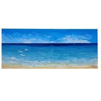 """ULTIMA CREAZIONE!!!! """" Paesaggio di mare con gabbiani """" Acrilico spatolato su tela e applicazione di sabbia di vetro e glitter.  Interpretazione personale del mare con i suoi colori vivaci e quasi reali. Il paesaggio di mare con i gabbiani è un classico da inserire sicuramente nelle case al mare."""