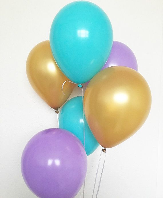 Blue Purple Gold Balloons Mermaid Party Under by OhhHowCharming