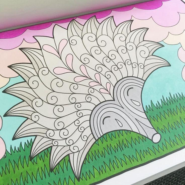 "Mental Images Coloring Books (@paivivesala_art) on Instagram: ""Sentimental hedgehog 💚 Coloring book: Mental Images vol 2 (Amazon)"""