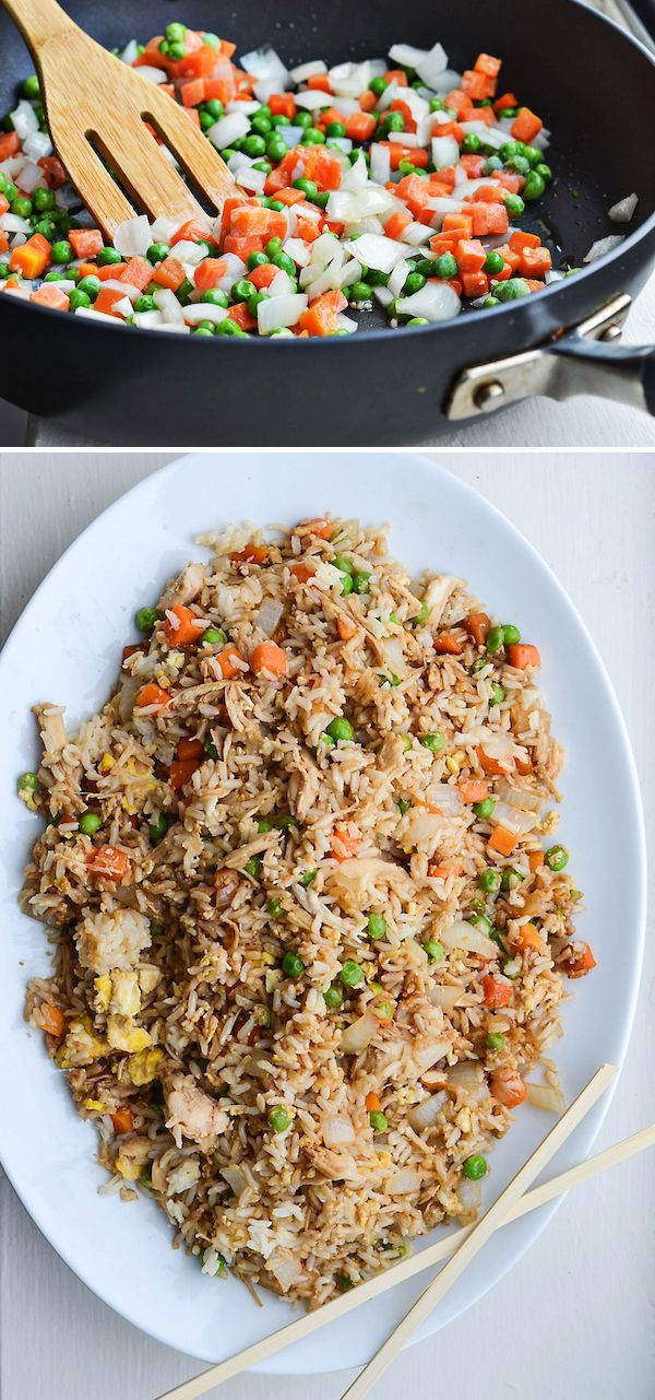 AWESOME layout design for recipe blogging - except for the spastically long title banner, this lady's got it going on. BETTER-THAN-TAKEOUT CHICKEN FRIED RICE from Rachel Schultz