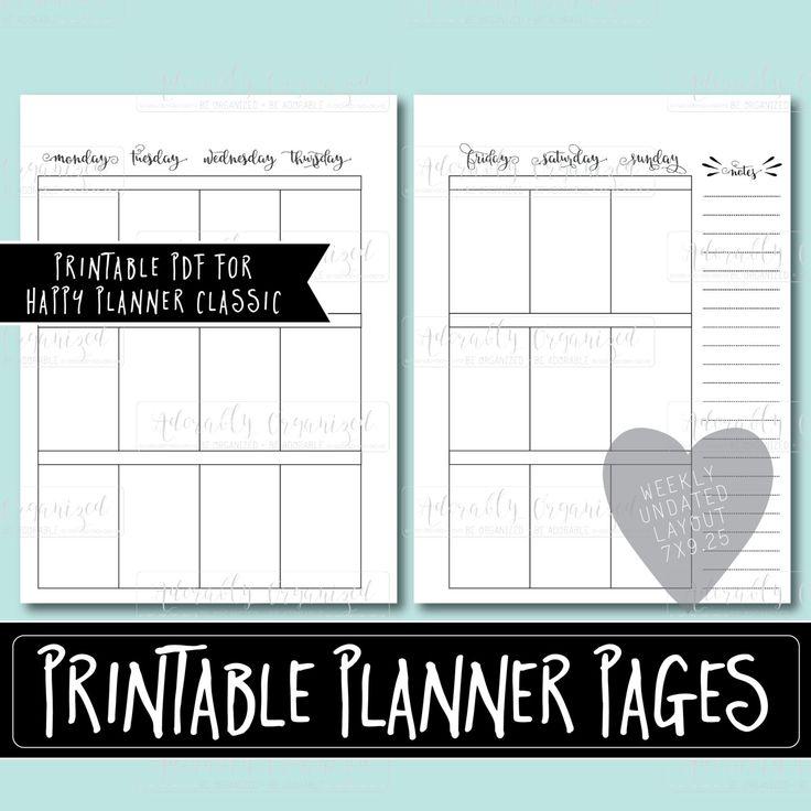 Happy Planner PRINTABLE Weekly Planner Refills / Inserts ...