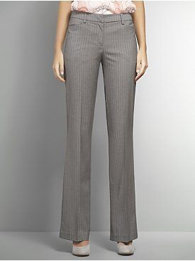 The 7th Avenue City Double Stretch Bootcut Pant - Grey Pinstripe - Petite