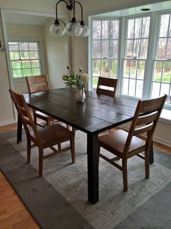 Dark Rustic Wood Kitchen Table With Metal Legs