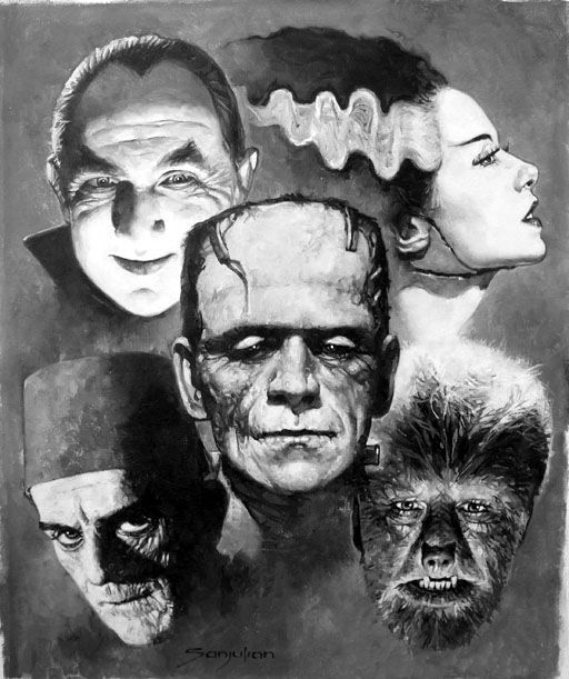 film, horror, dracula, frankenstein, bride of frankenstein, wolf man, the mummy