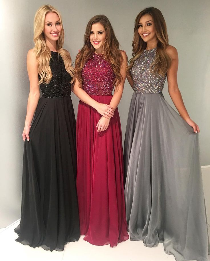Hot-Selling A-Line Round Neck Floor-Length Prom Dress with Beading