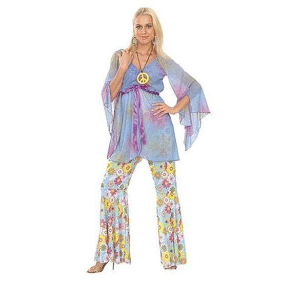 Groovy hippie kostuum voor dames. Jaren 60 hippie kostuum voor dames, inclusief shirt broek en ketting! Voor meer bijpassende hippie accessoires kunt u ook in deze webshop terecht! One size, S/M. Carnavalskleding 2015 #carnaval