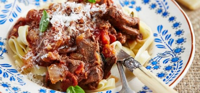 Ragout is the French term for a rich stew with meat and vegetables, usually served with pasta.