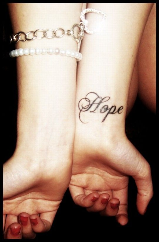 Inspirational word tattoo on wrist