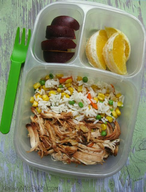 Here I packed leftover Zesty BBQ Chicken with rice & veggies and fresh fruit for lunch the next day.