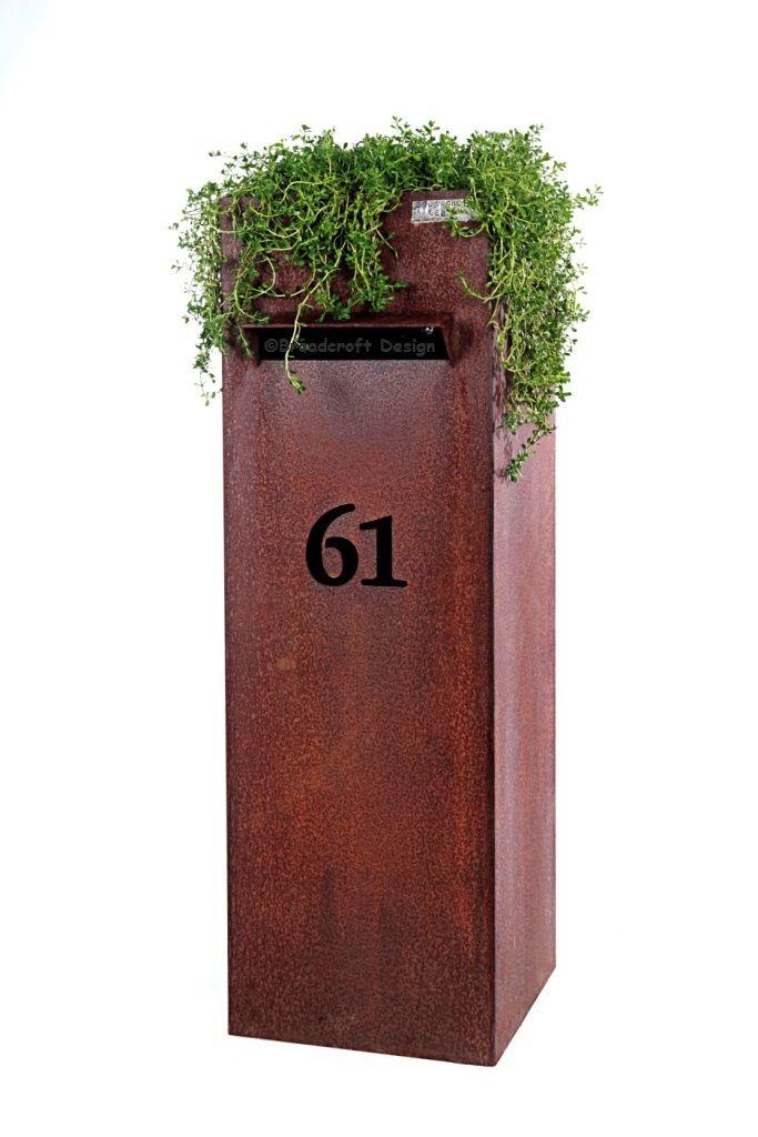 Garden Sculpture :: Freestanding Decorative Sculpture :: Mailbox Laser Cut Steel Outdoor Sculpture -