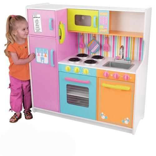 Girls play kitchen pastel colors daycare furniture pretend for Girls play kitchen