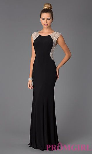 Elegant and chic. This long black gown is perfect for Prom!