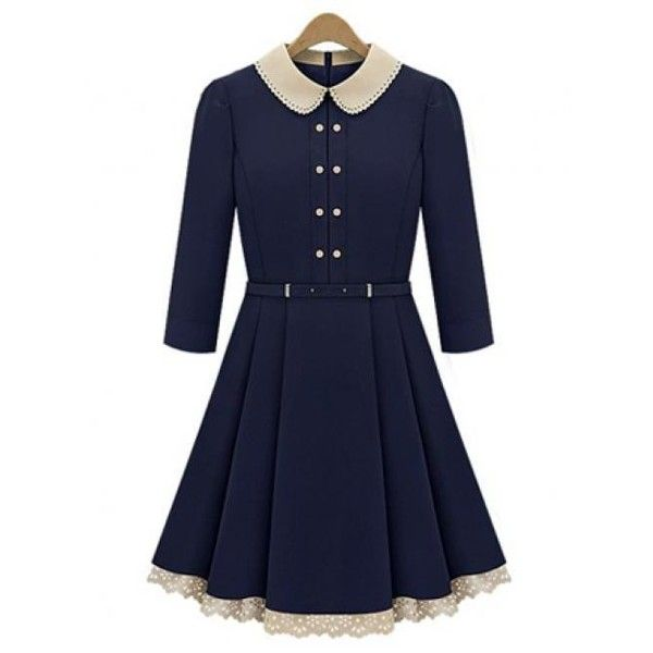Dark Blue Lapel Flounced Dress$49 (€44) ❤ liked on Polyvore featuring dresses, vestidos, udobuy, ruffle dress, blue ruffle dress, blue dress, frilly dress and flouncy dress