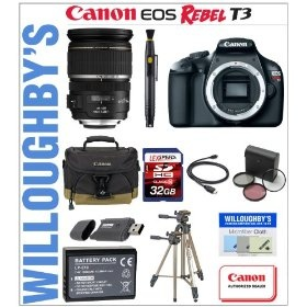 Canon Rebel T3 with Canon Canon EF-S 17-55mm f/2.8 IS USM Lens + LEXSpeed 32GB SDHC Class 10 Memory Card + Sunpak 9002TM Tripod + Replacement LP-E10 Battery + Canon Deluxe Gadget Bag & Much More! Willoughby's Est. 1898 Bundle $1,459.95