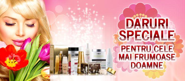 Cele mai eficiente cosmetice profesionale de pe piaţă au preţurile reduse, pentru că te iubim! Bucură-te de efectele lor miraculoase şi bucură-le şi pe femeile dragi, din viaţa ta, cu un dar de calitate, de 1 şi 8 Martie! Cumpărături plăcute, pentru fericirea de primăvară!