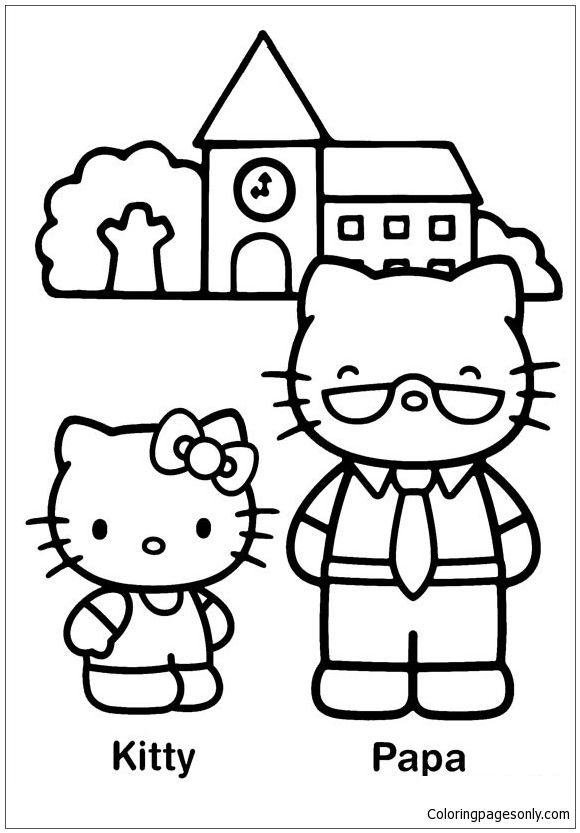 Hello Kitty And Papa Coloring Page Hello Kitty Coloring Kitty