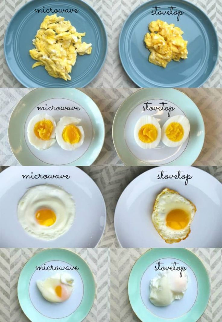 Poaching eggs in the microwave is so much easier than doing it on the stove. For poached eggs and fried eggs, make sure to poke the yokes first before microwaving. See how to satisfy all your creggings here.