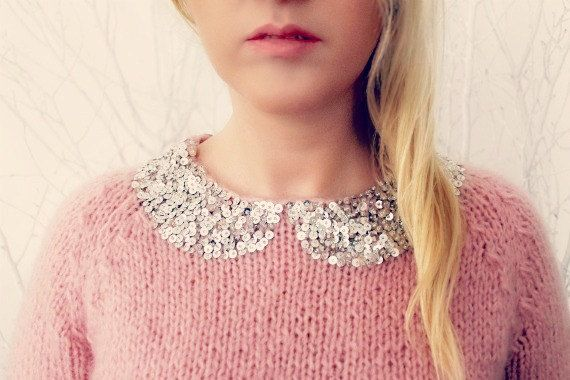 pink sweater wjth silver sequins - Sequined Hand Knitted Sweater by LoveandKnit on Etsy