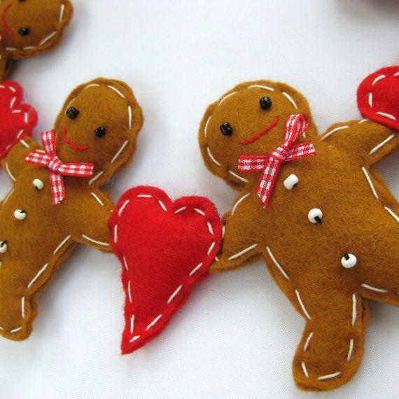Felt Gingerbread Man Christmas Garland by FantooshbySonia on Etsy